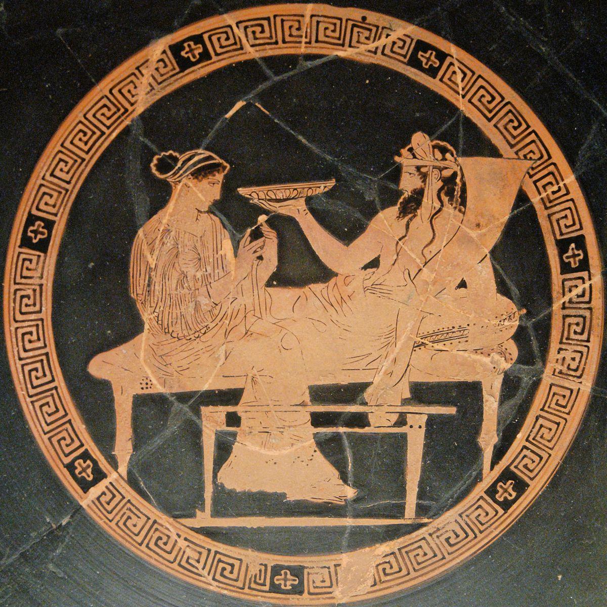 Perséphone et Hadès sur vase